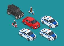 Police Motorcade Car Flat Desi...