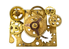 Old Clock Mechanism With Gears Isolated On White Background, Clo