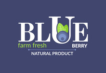 White Logo At A Blue Backgraund. Forest Fruit Creative Symbol Template. Fresh Organic Fruit Unique Icon Layout. It Contains The Inscription Blue Berry, Farm Fresh, Natural Product. Vector Illustration