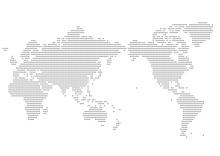 世界地図 ドット イラスト 黒 グラデーション(日本中心)