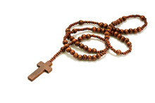 Rosary Beads With Cross Made Of Brown Wood Isolated On White