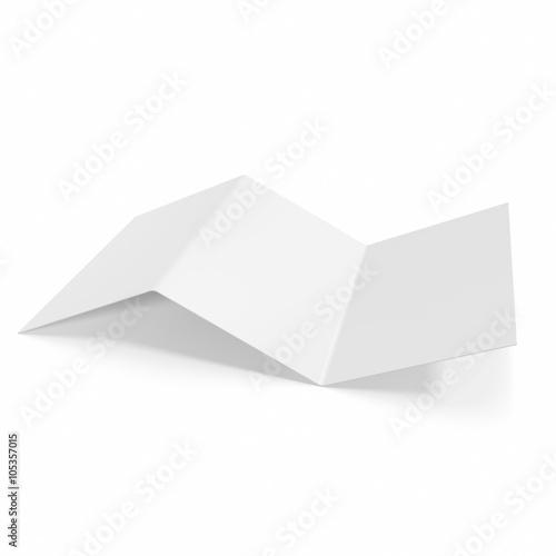 Fotografie, Obraz  blank, mockup tri-fold brochure isolated on white background.