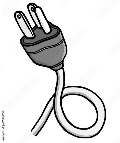 Electric Plug Cartoon Vector And Illustration Grayscale Hand Drawn Style Isolated On White Background Buy This Stock Vector And Explore Similar Vectors At Adobe Stock Adobe Stock