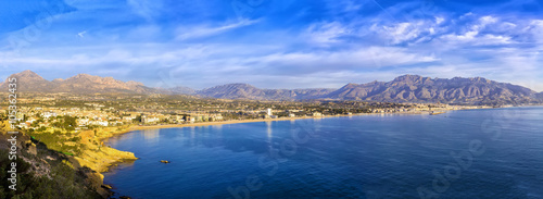 Photo Sunrise over Altea bay, Costa Blanca. Spain, Alicante. Panoramic