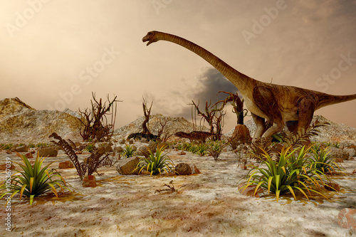 Dinosaur. Prehistoric Jungle, landscape, valley with Dinosaurs Poster