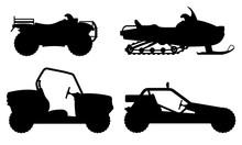 Set Icons Atv Automobile Off Roads Black Outline Silhouette Vect