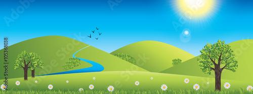 Canvas Prints Blue Panoramic spring landscape