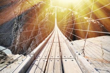 Fototapeta Mosty Trift Bridge, the longest 170m pedestrian-only suspension bridge