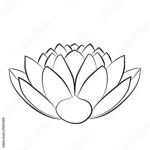 Lotus Flower Abstract Black And White Illustration Lotus Symbol