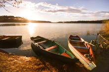 Boats At Sunset By The Bosque Azul Lake In The Lagunas De Montebello National Park Chiapas, Mexico