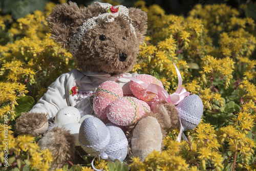 obraz dibond Teddy bear's Easter