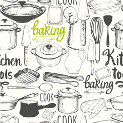 Tapeta Seamless background with kitchen appliances and tools. Menu pattern.
