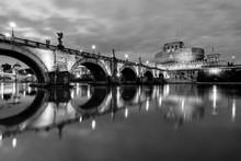 Night View Of S. Angelo Bridge, Rome