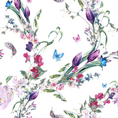 Panel Szklany Tulipany Watercolor Seamless Background with Sweet Peas, Tulips