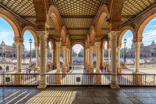 Columnas y arcos de Plaza de España en Sevilla