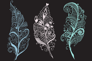 Artistically Hand Drawn, stylized, vector Feathers set