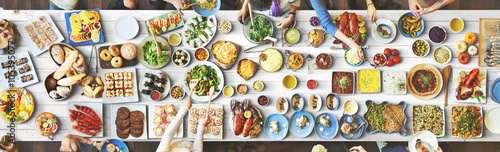 Obraz Food Festive Restaurant Party Unity Concept - fototapety do salonu