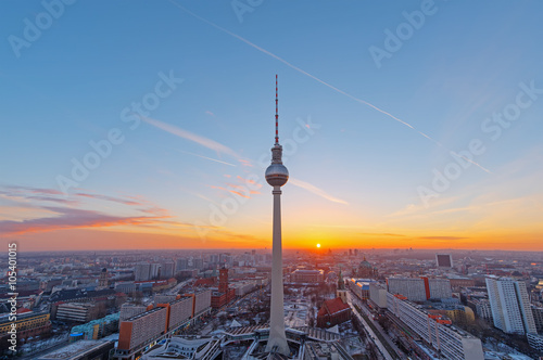 Poster Berlin Beautiful sunset over downtown Berlin with the famous Television Tower