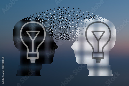 Fotografie, Obraz  Teamwork and Leadership with education symbol represented by two human heads shaped with gears and lamp representing the concept of intellectual communication through technology exchange and ideas