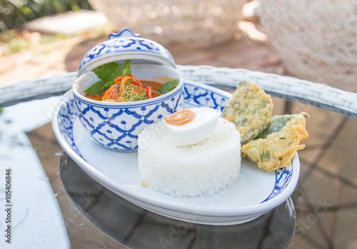 Foto op Aluminium Picknick Thai red curry in the beautiful bowl