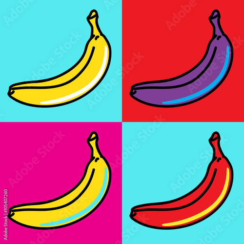 Fototapeta The composition of bananas in the style of Andy Warhol