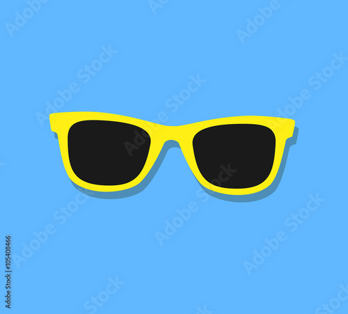 Canvas Print Vector Sunglasses Icon. Yellow sunglasses on blue background