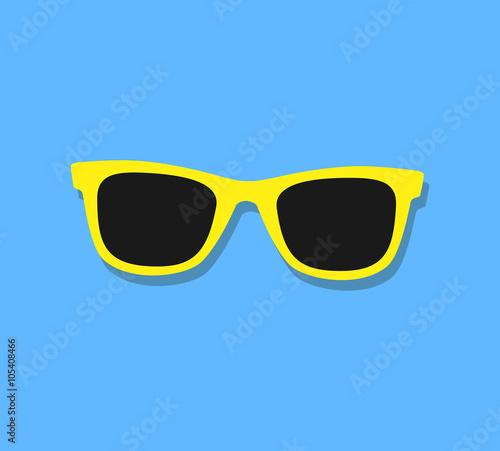 Fotografia, Obraz Vector Sunglasses Icon. Yellow sunglasses on blue background