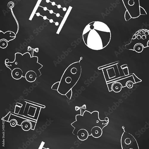 7c06f47ccd7275 Fototapeta Jednolite wzór czarny kreda z białymi rysunkami kredy dla ...