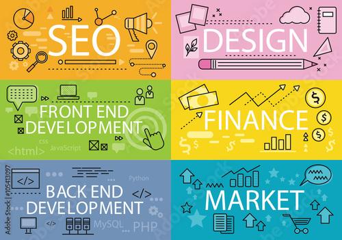 Fotografía  Set Banners Seo Design Finance Flat