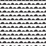 Scandinavian seamless  black and white pattern in hand drawn style. Stylized hill rows. Wave simple pattern for fabric, textile and baby linen. - 105413427