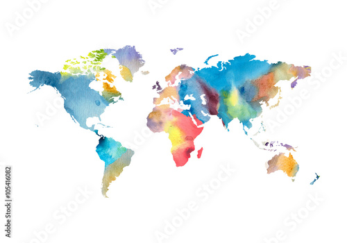 Watercolor world map Wallpaper Mural