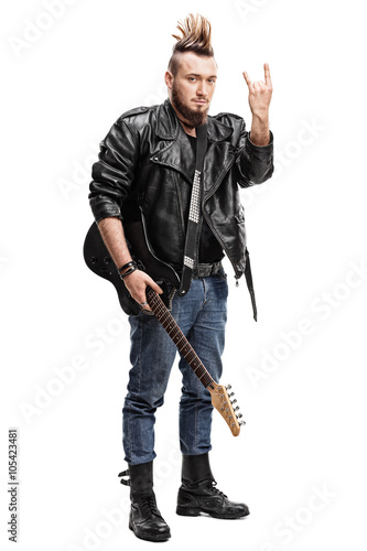 Fotografia, Obraz  Punk rocker making a hardcore hand gesture