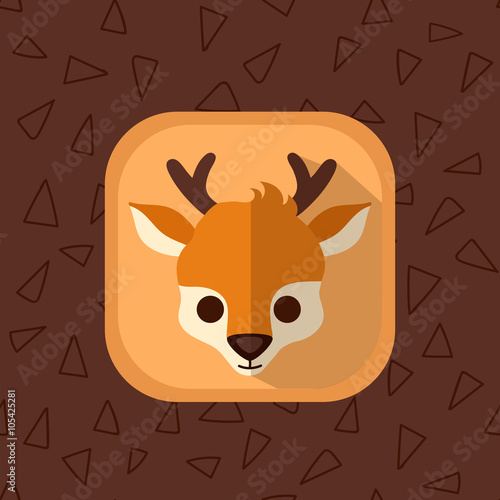 Little cute baby deer flat icon  Forest animal with simple