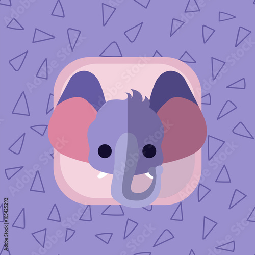 Little cute baby elephant flat icon  African animal with