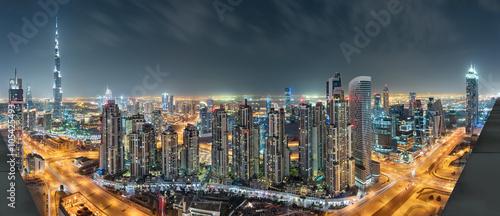 Fototapeta Panorama nocna w centrum Dubaju