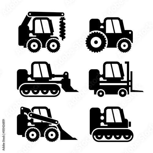 Bobcat Machine Icons Set. Vector Canvas Print
