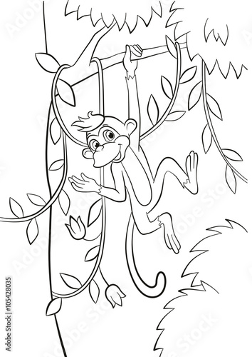 Coloring pages. Little cute monkey is hanging on the tree ...
