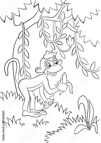 Coloring pages. Little cute monkey is eating banana in the ...