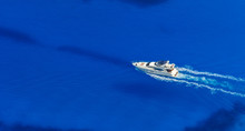 Aerial View Of Single Yacht In...