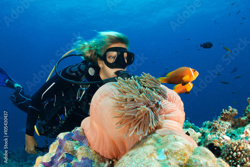 Foto op Canvas Duiken DIVER VS ANEMONEFISH 1
