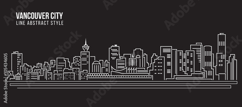 Fotomural  Cityscape Building Line art Vector Illustration design - Vancouver city