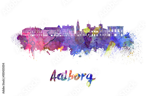 Aalborg skyline in watercolor Canvas