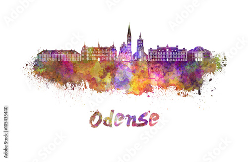 Odense skyline in watercolor Canvas