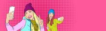 Two Girls Taking Selfie Smart Phone Photo Wear Winter Hat Pop Art Colorful Retro Style
