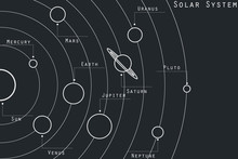 The Planets Of The Solar System Illustration In Original Style. Vector.