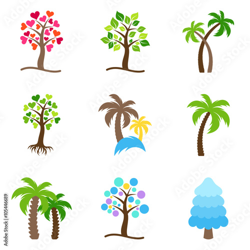 Foto  Vector tree icons collection