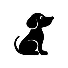 Cute Black Vector Dog Icon