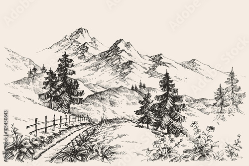 A path in the mountains sketch