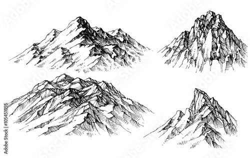 Fototapeta Mountain set. Isolated mountain peaks vector obraz