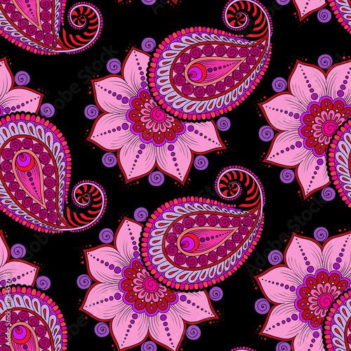 Fotografie, Obraz  Raster  illustration of  seamless paisley pattern
